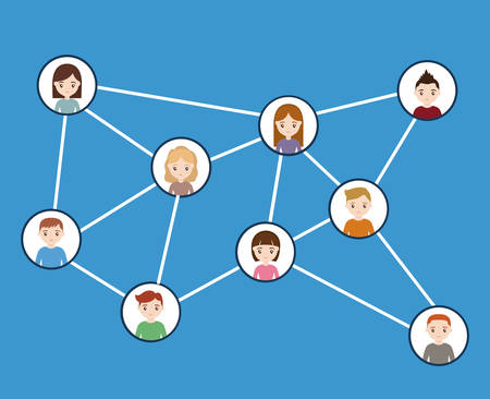 A social media network with avatar people icons over blue background colorful design vector illustration Illustration