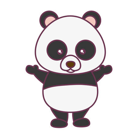 cute panda bear icon over white background vector illustration Illustration