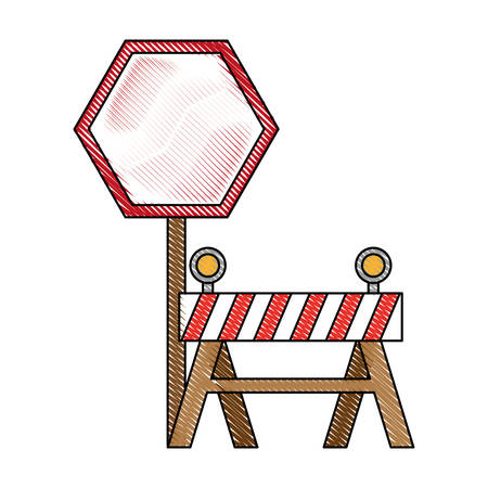 A road sign and warning barrier icon over white background vector illustration Illustration