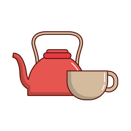 Kettle and coffee mug icon. Illustration