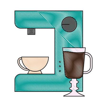 break time: Coffee maker machine icon over white background colorful design vector illustration Illustration