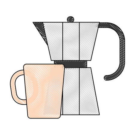 Italian coffee maker and coffee cup icon over white background vector illustration