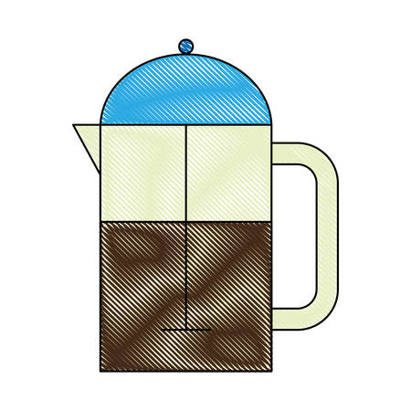 Coffee french press icon over white background vector illustration
