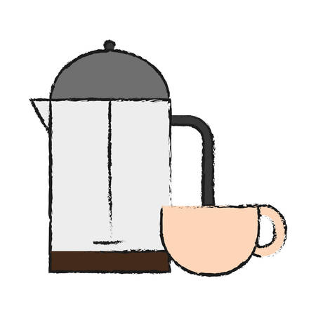 Coffee french press and coffee mug  icon. Illustration