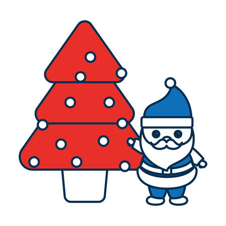 Christmas tree and santa claus icon over white background colorful design vector illustration