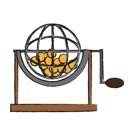 Icona della ruota della gabbia di lotteria sopra l'illustrazione bianca di vettore del fondo