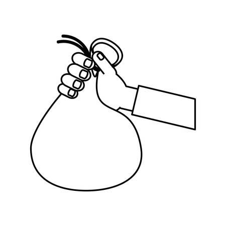 salarios: Flat line money bag Vectores