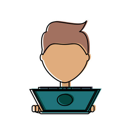 Flat line colored  man  with  laptop over  white  background vector  illlustration Illustration