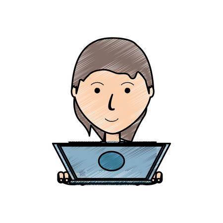 Colorful avatar woman with laptop illustration. Illustration