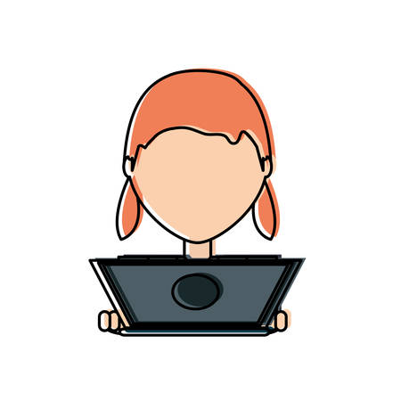 Flat line  colored  woman with laptop over white background  vector illustration