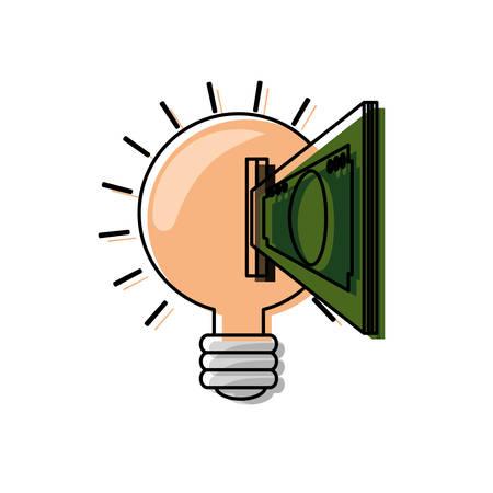 flat line  colored bulb idea ove white background  vector illustration