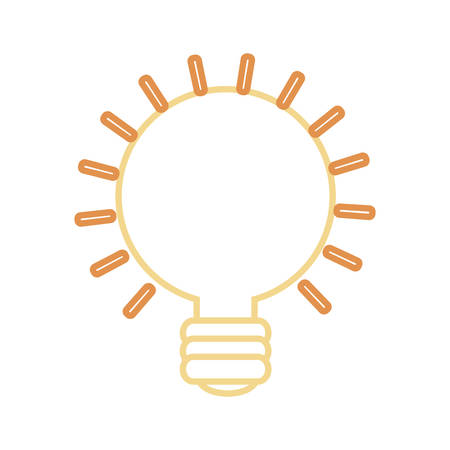 flat line colored  bulb idea over white background  vector illustration