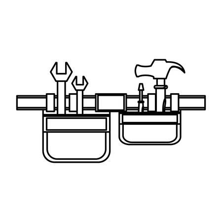 Flache Linie ungefärbten Werkzeug Gürtel über weißem Hintergrund Vektor-Illustration Vektorgrafik