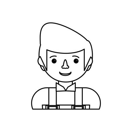 flat line uncolored working man over white background  vector illustration