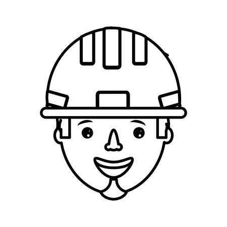 flat line uncolored working man  face  over white   background  vector illustration
