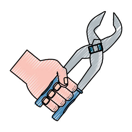 pinky: flat line  colored hand  with plier  doodle over white background vector illustration