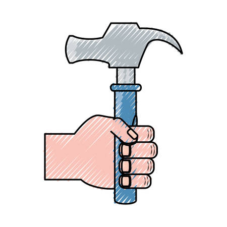 flat line  colored hand  with hammer  doodle over white background vector illustration Illustration