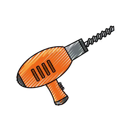 flat line colored drill doodle over white background vector illustration Illustration