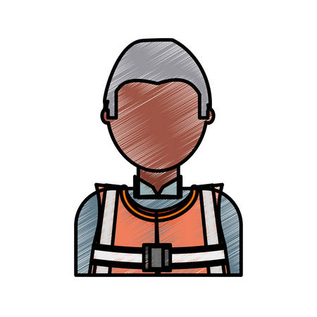 flat line colored  working man   doodle over white background  vector illustration