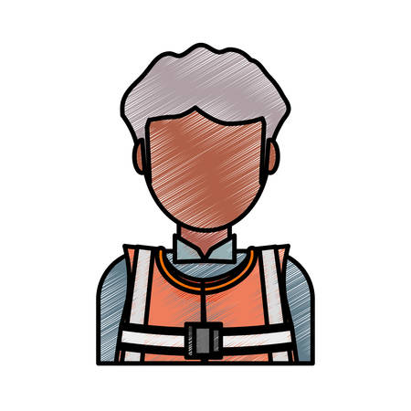 Flat line colored  working man doodle.