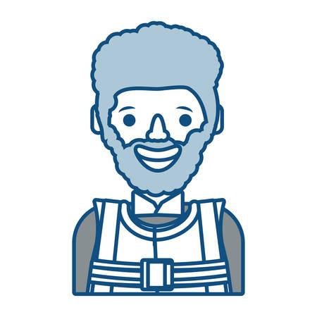 Flat line colored working man over white background vector illustration Illustration