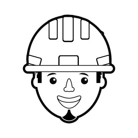 flat line  monochromatic  working man over white background  vector illustration