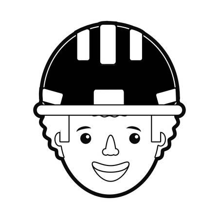flat line  monochromatic  working man over white background  vector illustration