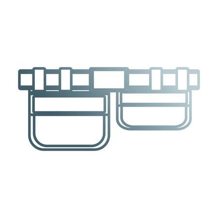 Vlakke lijn ongekleurde gereedschapsriem over witte achtergrond vectorillustratie Vector Illustratie