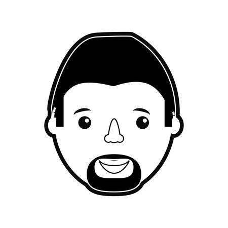 Flat line monochromatic  man face over white background vector illustration Illustration