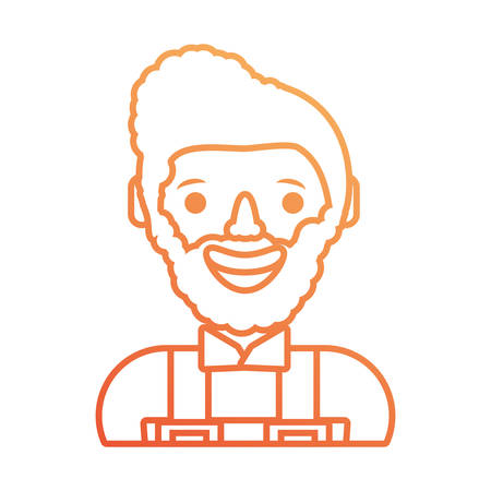 A flat line colored working man on white  background. Illustration