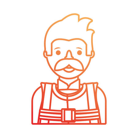 flat line colored working man over white  background  vector illustration Illustration