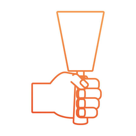 flat line colored hand with spatula  over white background  vector illustration