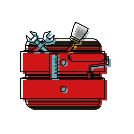 backgrund: colorful tool cabinet over white backgrund  vector illustration Illustration