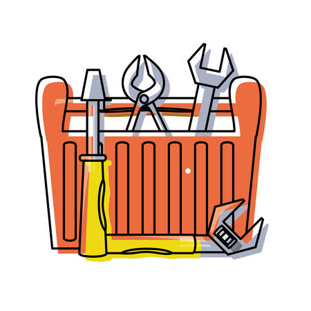 colorful tool box over white background  vector illustration Illustration