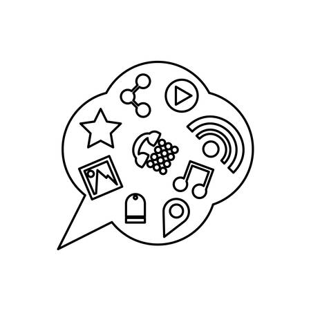 flat line  uncolored chat bubbles over white background vector illustration