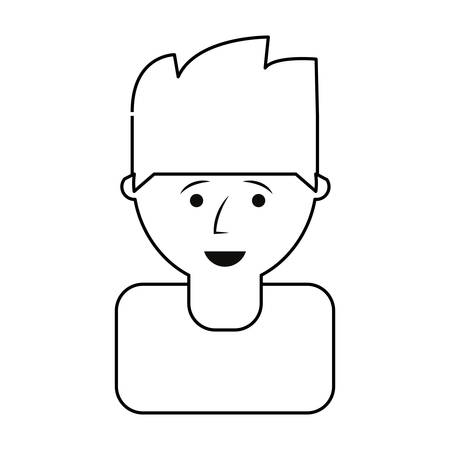 flat line uncolored  man head  doodle over white background  vector illustration