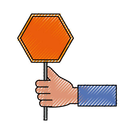 colored  hand  with   trafic sign doodle over white background  vector illustration Illustration