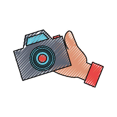 colored  hand  with camera   doodle over white background  vector illustration