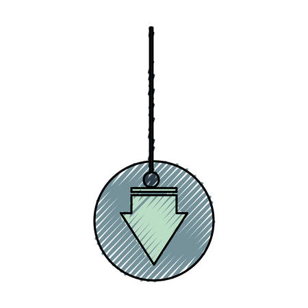 flat line colored decorative  pendant  with arrow   doodle  over white background vector illustration Illustration