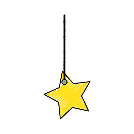 flat line colored decorative  pendant  with  star  doodle  over white background vector illustration