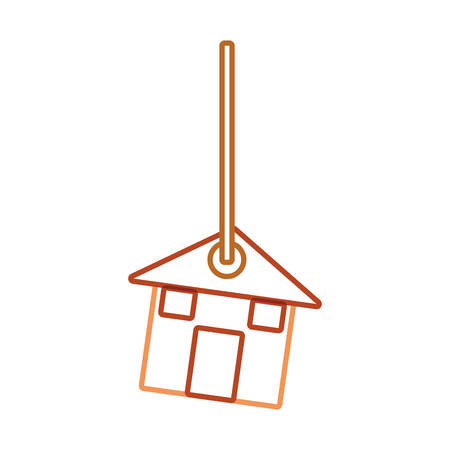 flat line colored  decorative pendant  with  house  over white  background illustration