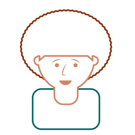 flat line colored man face over white background  vector illustration