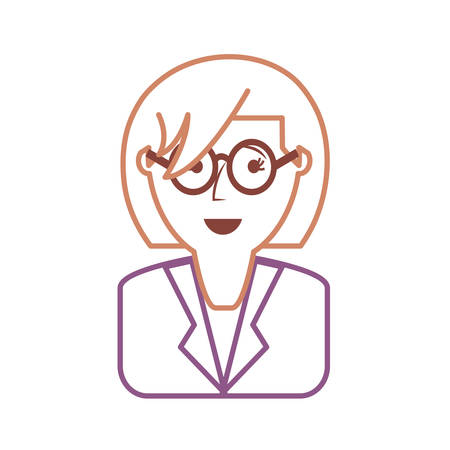 brow: flat line colored  woman face  over white background vector illustration Illustration