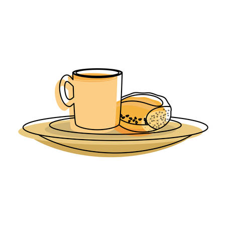 break time: coffee cup and bread icon over white background colorful design vector illustration