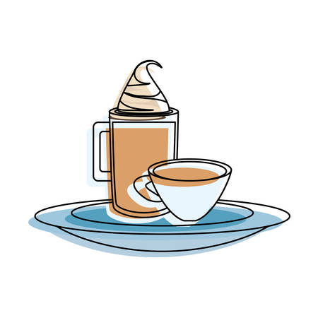 tray with coffee drinks icon over white background vector illustration