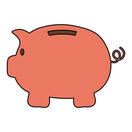Piggy bank icon over white background colorful design vector illustration Illustration