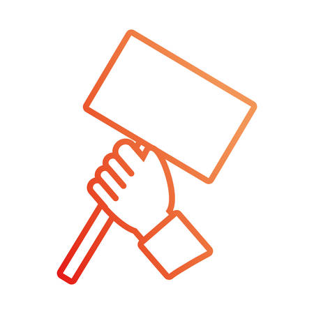 pinky: Outlined flat style, colored hand holding road sign over white background  illustration.