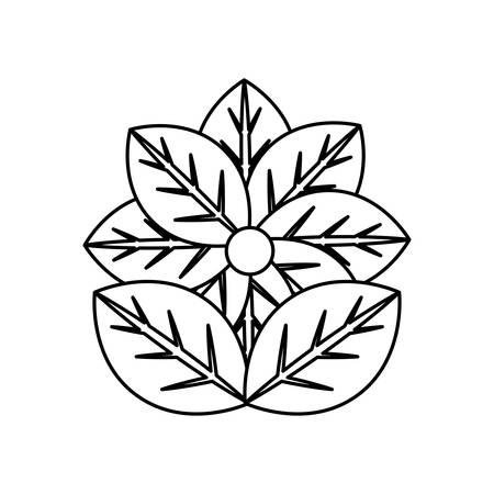 flat line uncolored  flower over white background  vector illustration