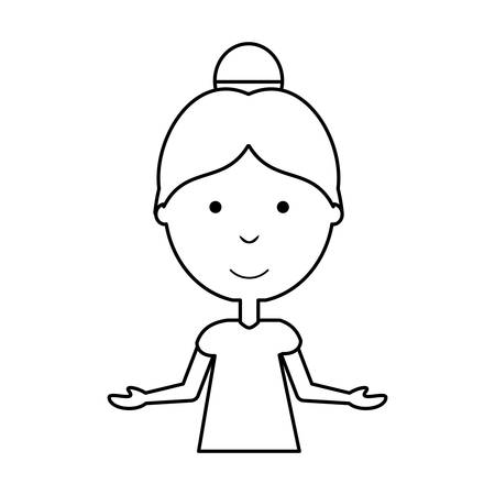 flat line  uncolored woman with  open arms  over white background  vector illustration Illustration