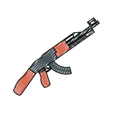 colored rifle doodle  over white background vector  illustration